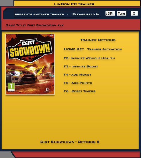 DiRT Showdown v1.2.0 Steam +5 Trainer [LinGon]