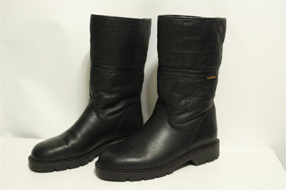 blondo vintage canada black leather knee high shearling