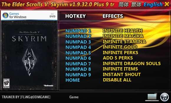 The Elder Scrolls 5: Skyrim 1.9.32.0.8 +9 Trainer [FliNG]