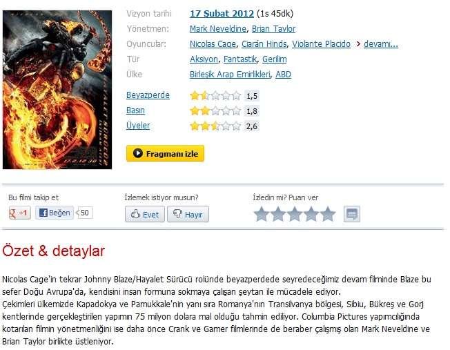 Hayalet Sürücü 2 - 2012 Türkçe Dublaj MKV indir